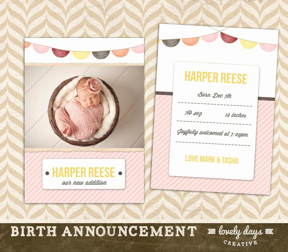 Baby Girl Birth Announcements Template Lovely Baby Announcement Template Birth Announcement Girl Instant