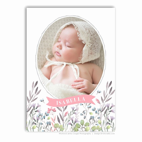 Baby Girl Birth Announcements Template Lovely Baby Girl Birth Announcement Template 5x7 Card for Pro