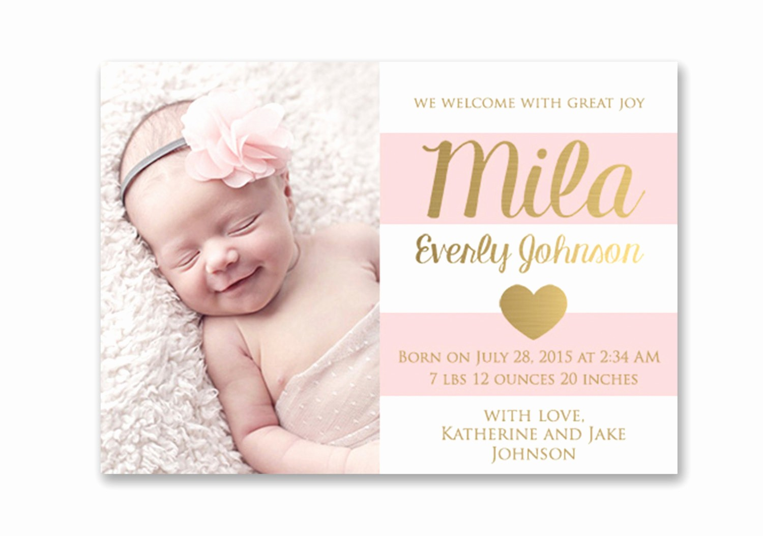 Baby Girl Birth Announcements Template Luxury Pink and Gold Baby Girl Birth Announcement Card Digital