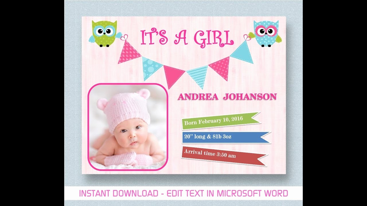 Baby Girl Birth Announcements Template New Baby Girl Announcement Creative Template