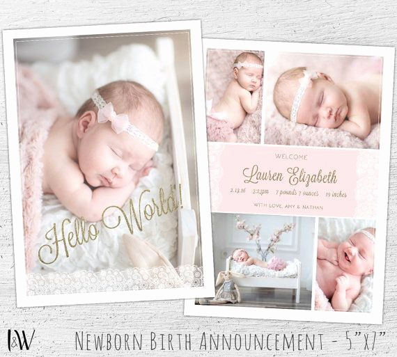 Baby Girl Birth Announcements Template New Newborn Announcement Template Shop Template New