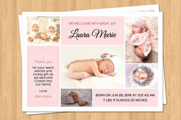 Baby Girl Birth Announcements Template Unique 9 Birth Announcement Templates Printable Psd Ai format