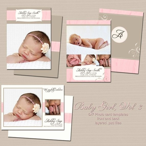 Baby Girl Birth Announcements Template Unique Baby Girl 5x7 Birth Announcement Templates Volume 3