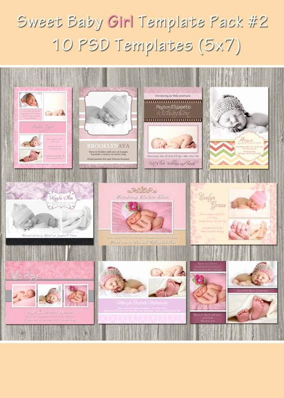 Baby Girl Birth Announcements Template Unique Instant Download Birth Announcement by Whimsicalcreationspc
