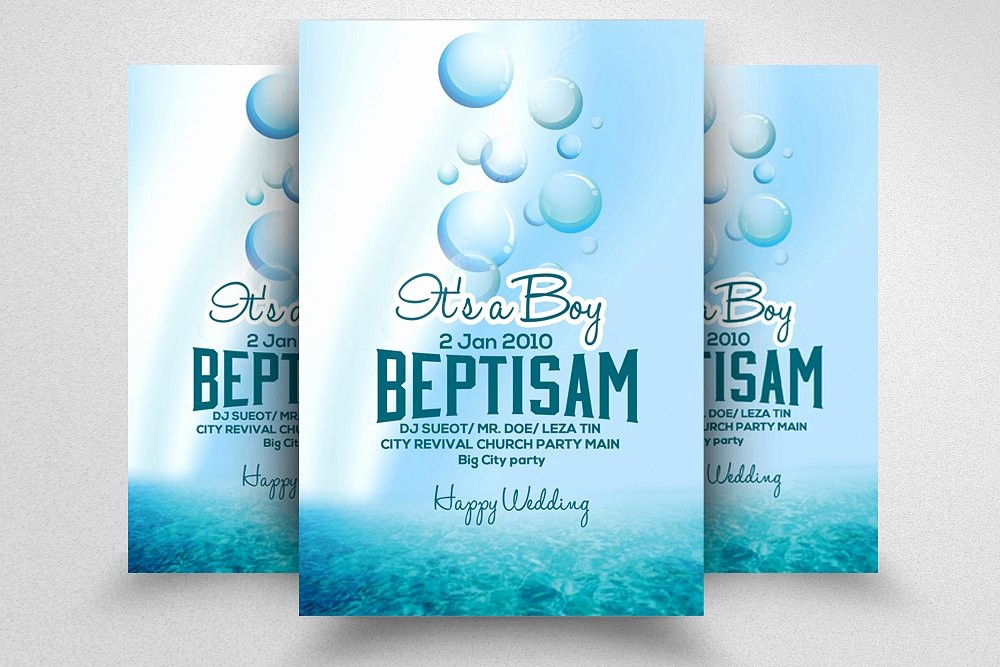 Baby Shower Baptism Flyer Template