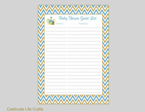 Baby Shower Guest List Printable Awesome Crown Baby Shower Guest List Printable Baby Shower Sign In