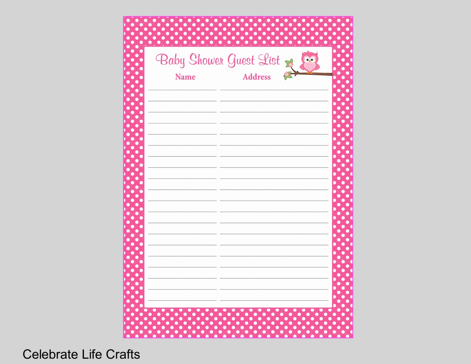 Baby Shower Guest List Printable Awesome Owl Baby Shower Guest List Printable Sign In Sheet with