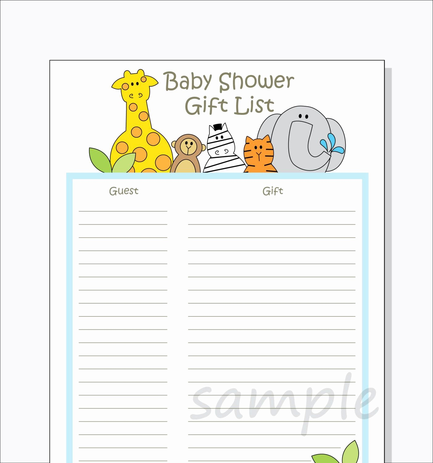 Baby Shower Guest List Printable Beautiful Diy Baby Shower Guest Gift List Printable by