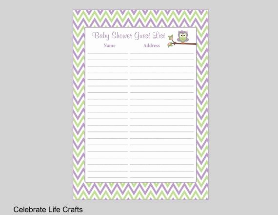 Baby Shower Guest List Printable Best Of Owl Baby Shower Guest List Printable Baby Shower Sign In