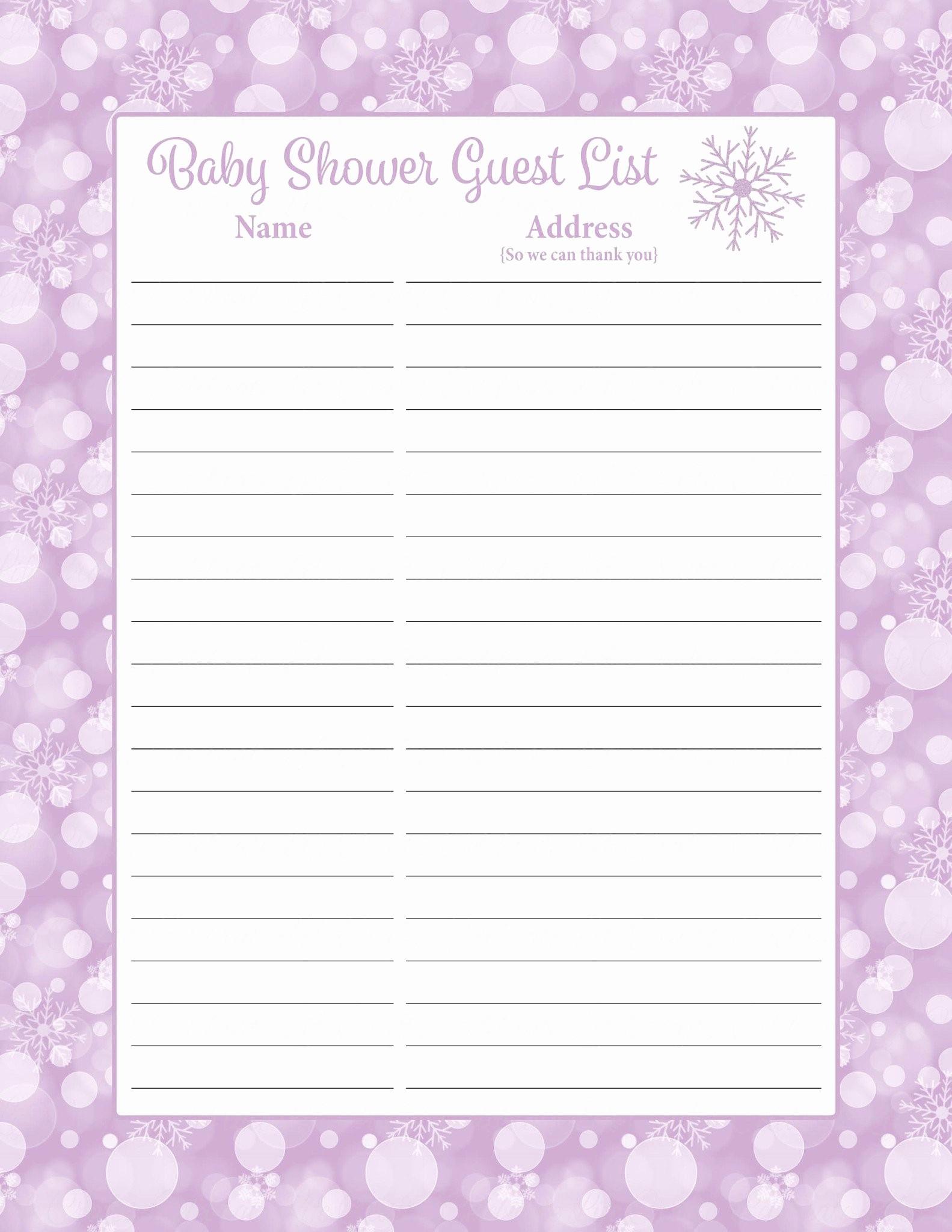 Baby Shower Guest List Printable Elegant Printable Baby Shower Guest List Portablegasgrillweber