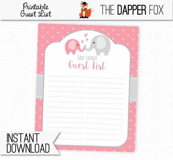 Baby Shower Guest List Printable Fresh Baby Shower Guest List Pink Elephant Printable Guestlist