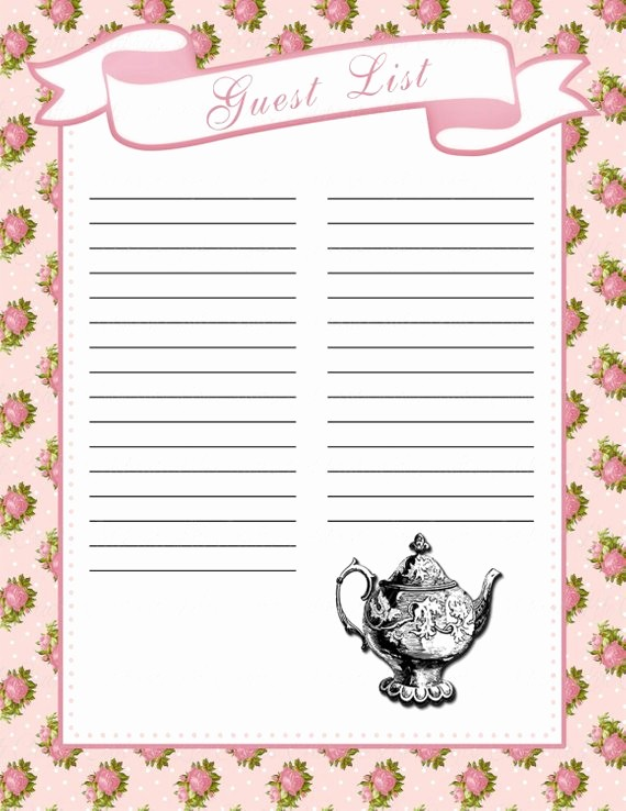 Baby Shower Guest List Printable Fresh Baby Shower Guest List Printable Baby Shower Party