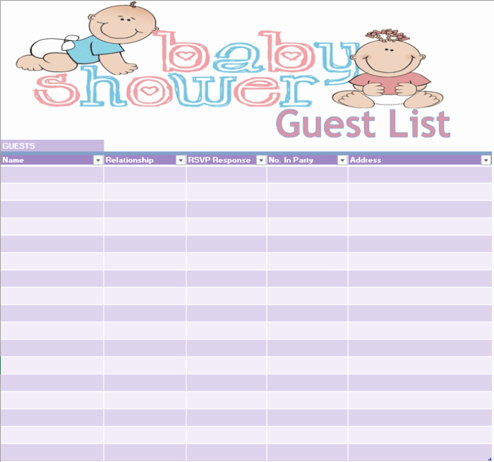 Baby Shower Guest List Printable Inspirational 17 Free Baby Shower Guest List Templates Ms Fice