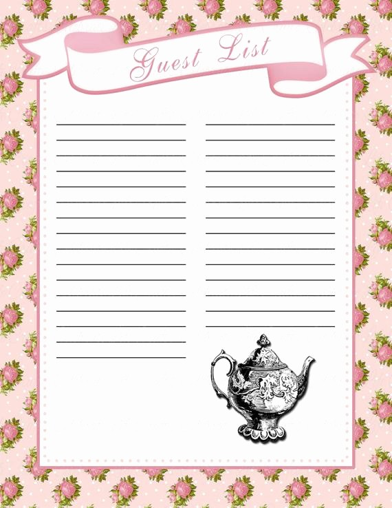Baby Shower Guest List Printable Lovely Baby Shower Guest List Printable Baby Shower Party