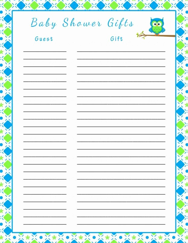 Baby Shower Guest List Printable Lovely Baby Shower Guest List Template Mughals