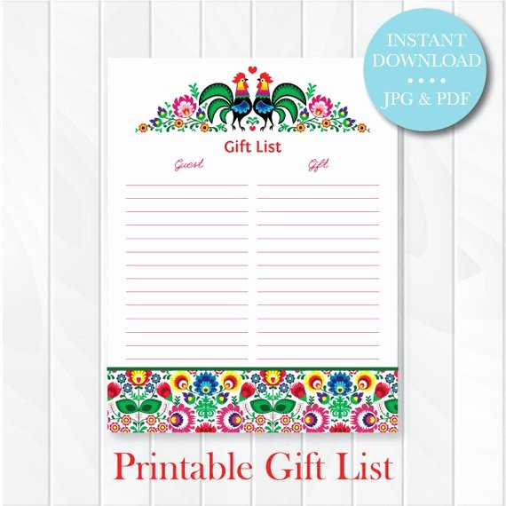 Baby Shower Guest List Printable Lovely Fiesta Gift List Printable Guest List Wedding Bridal