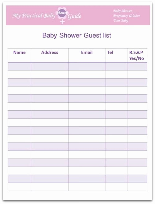 Baby Shower Guest List Printable Lovely Free Printable Baby Shower Guest List …