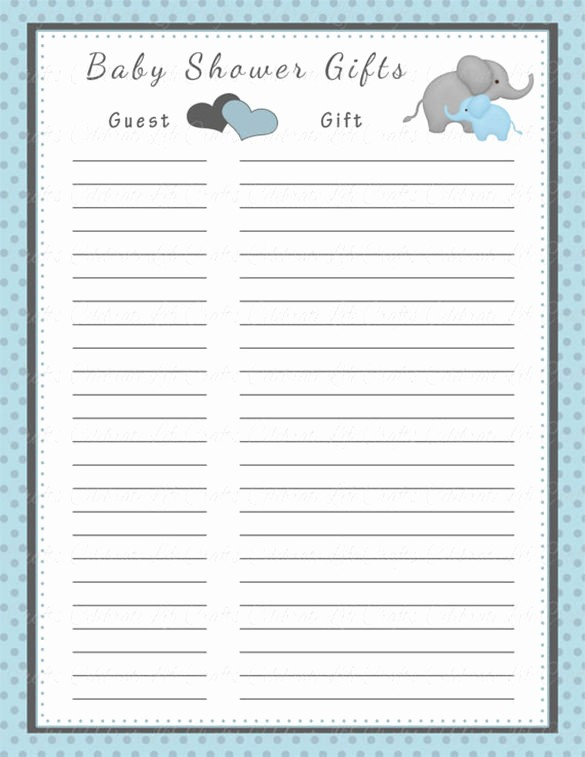 Baby Shower Guest List Printable Unique Baby Shower Gift List Template – 8 Free Word Excel Pdf