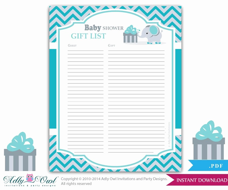 Baby Shower Guest List Printable Unique Boy Elephant Guest Gift List Guest Sign In Sheet Card for