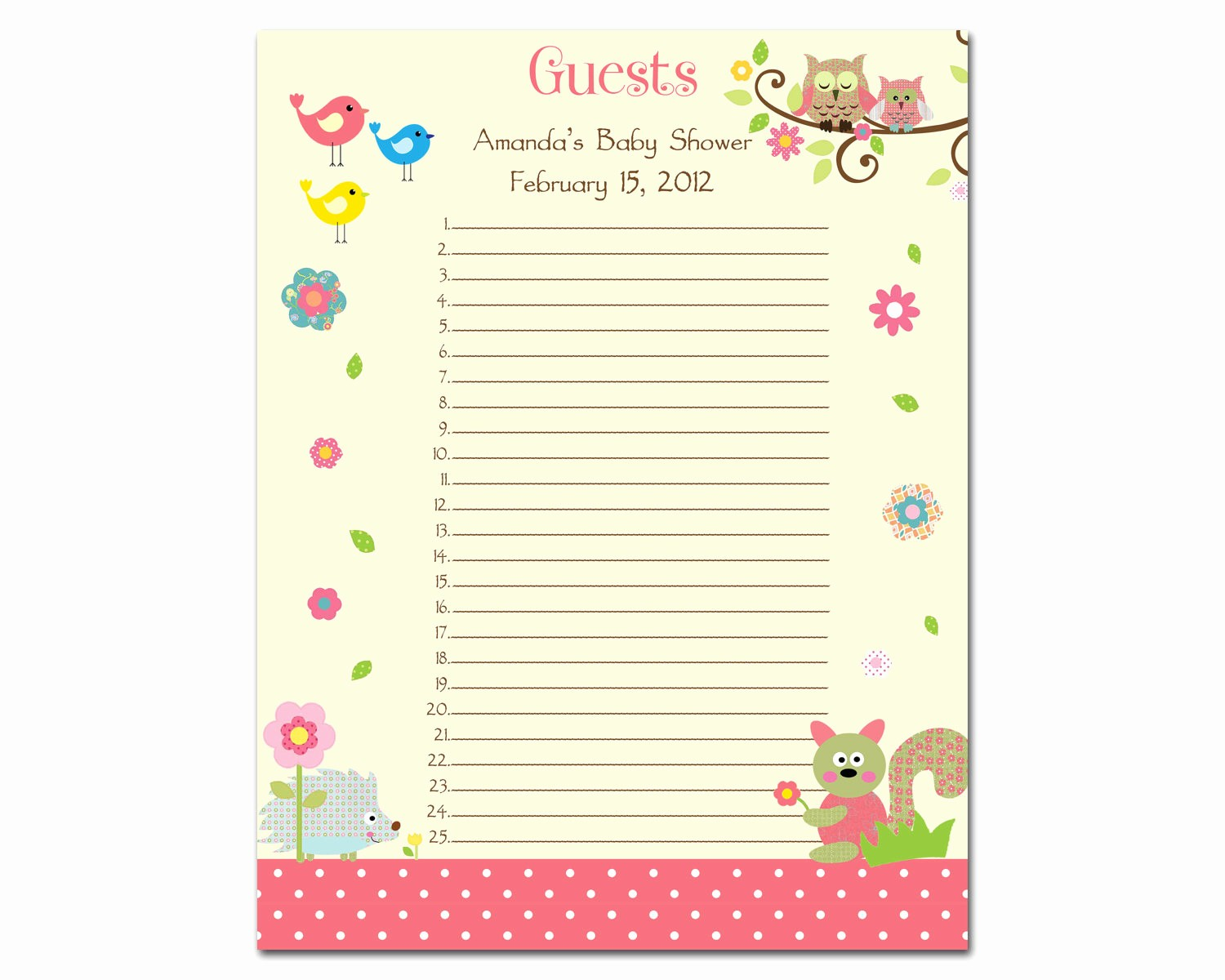 Baby Shower Invitation List Template Awesome 7 Best Of Free Printable Baby Shower Sign In Sheet