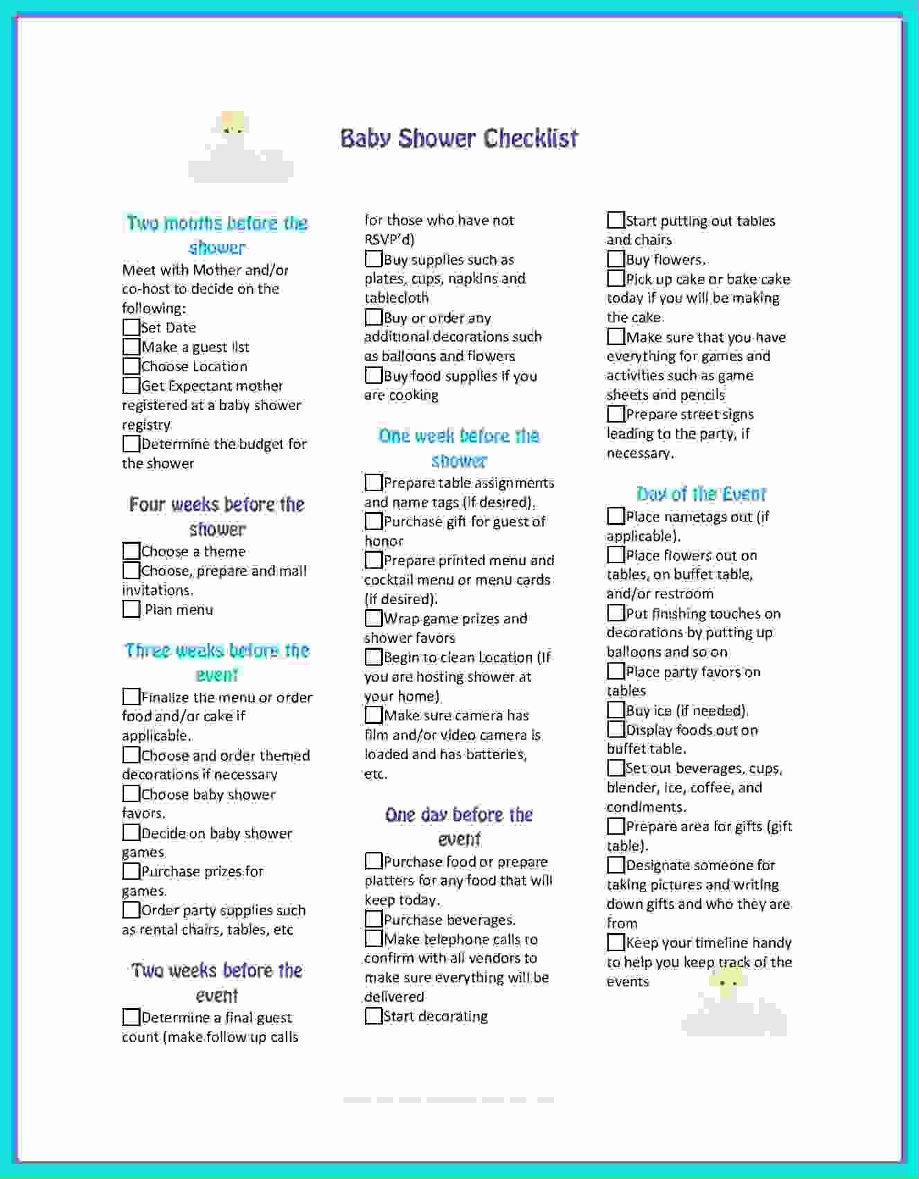 Baby Shower Invitation List Template Elegant 5 Planning A Baby Shower Checklist