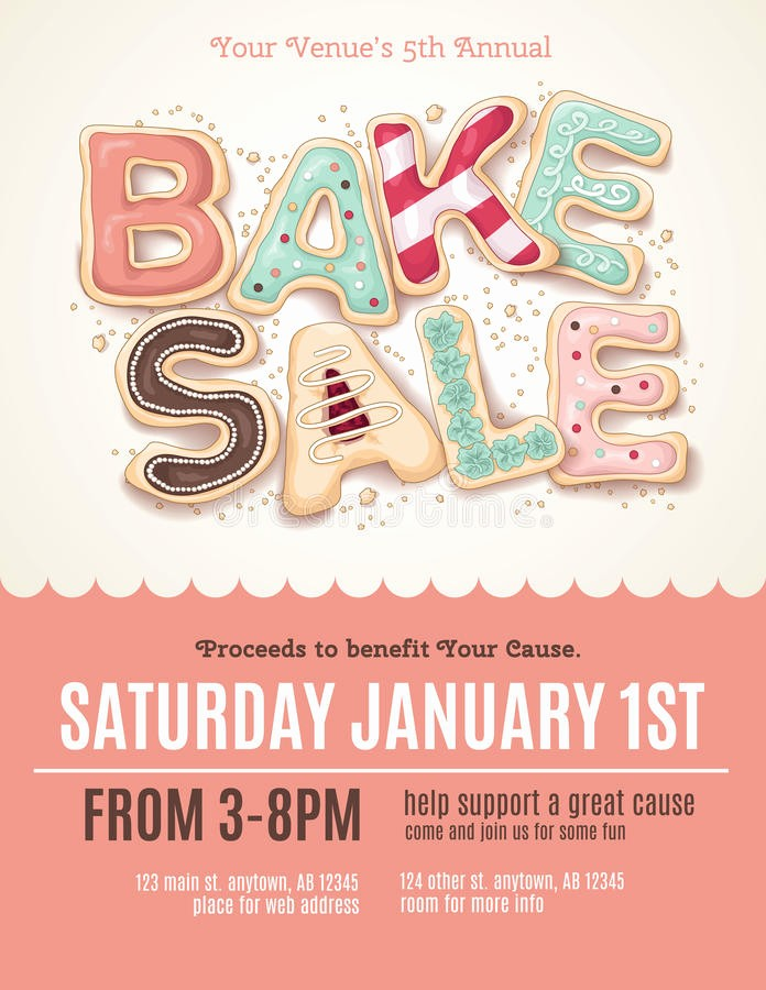 Bake Sale Flyer Template Free Awesome Fun Cookie Bake Sale Flyer Template Stock Vector