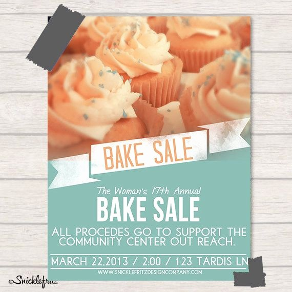 Bake Sale Flyer Template Free Lovely Bake Sale Flyer Personalized Printable by