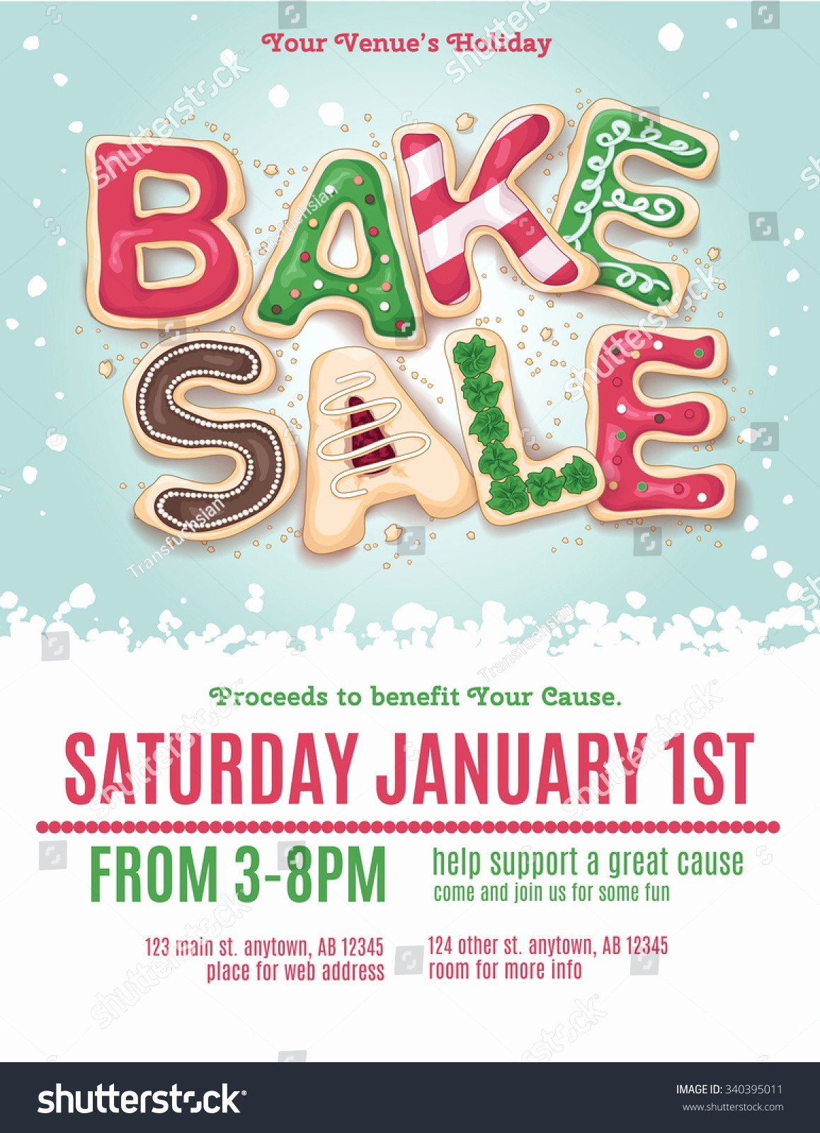 Bake Sale Flyer Template Microsoft Awesome Christmas Holiday Bake Sale Flyer Template Stock Vector