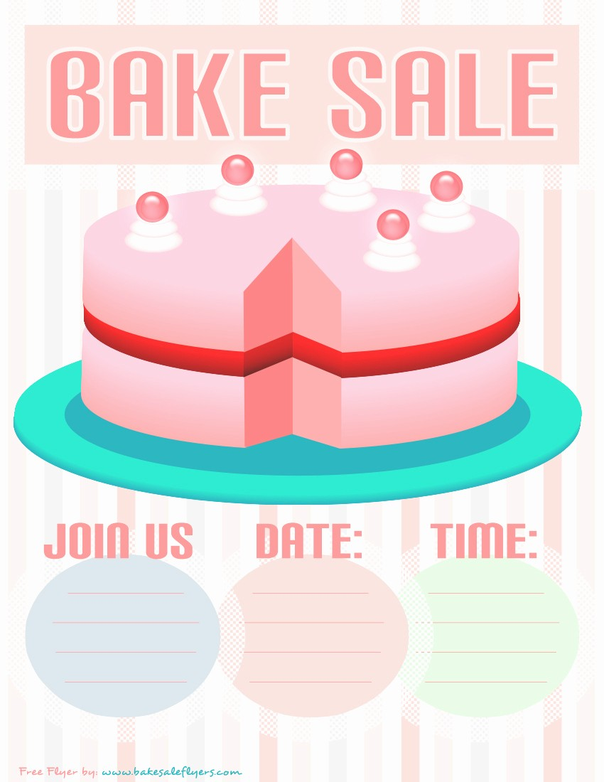 Bake Sale Flyer Template Microsoft New Bake Sale Flyer Template Pink Cake