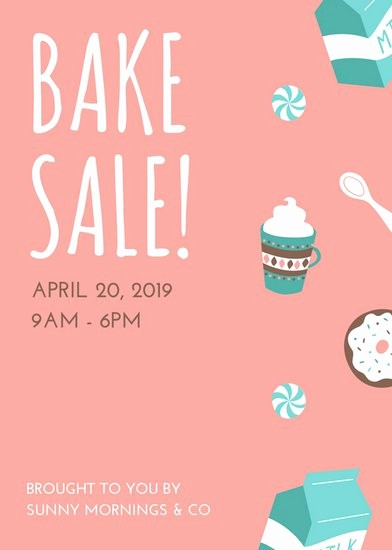 Bake Sale Flyer Template Microsoft New Pink and Turquoise Illustrated Bake Sale Flyer Templates