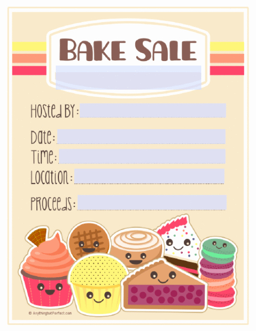 Bake Sale Flyer Template Word Awesome Bake Sale Printable Labels Set