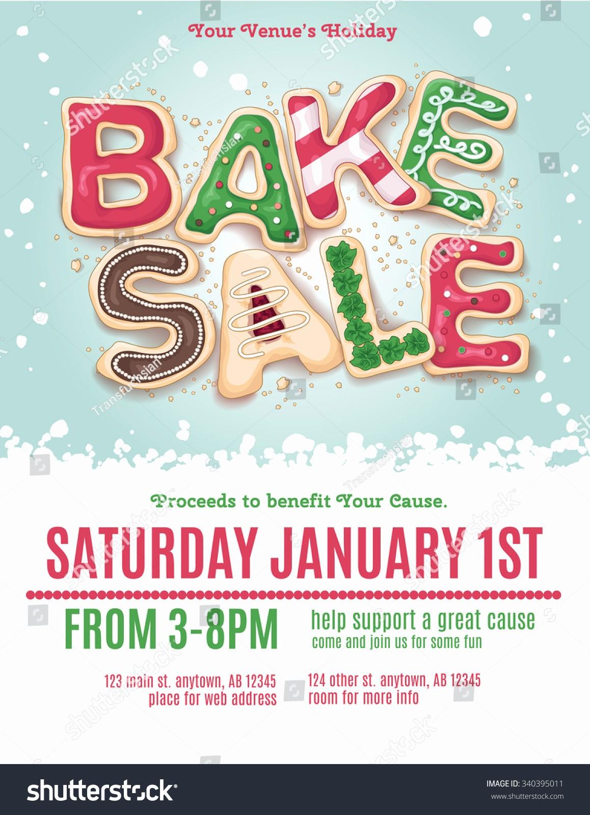 Bake Sale Flyer Template Word Lovely Christmas Holiday Bake Sale Flyer Template Stock Vector
