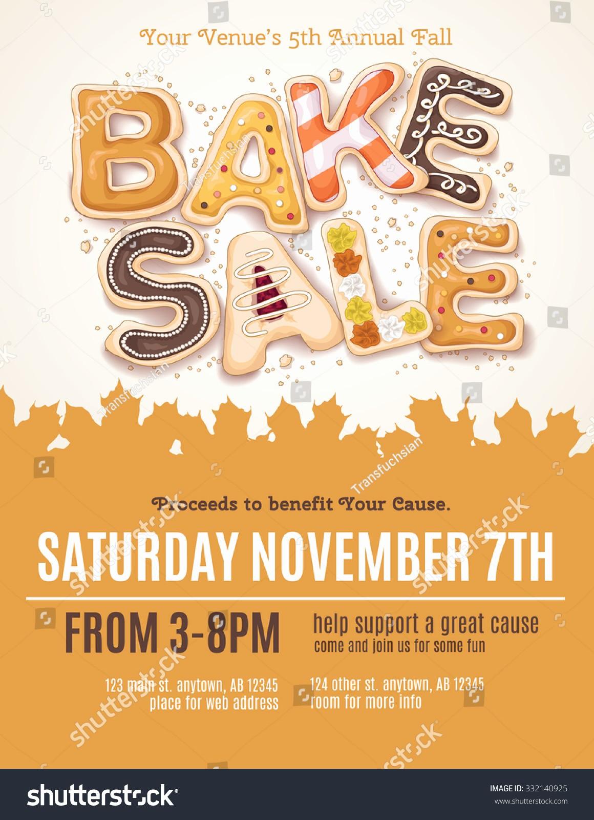 Bake Sale Template Microsoft Word Beautiful Hand Drawn Type Fall Bake Sale Stock Vector