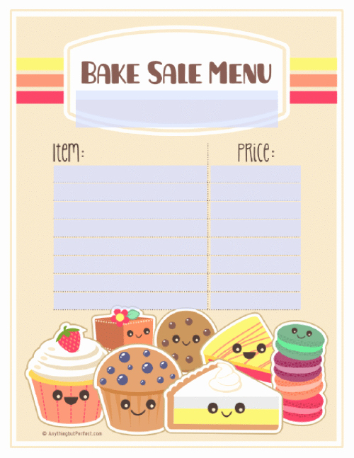 Bake Sale Template Microsoft Word Elegant Bake Sale Printable Labels Set