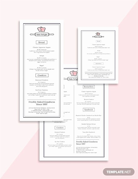Bakery Menu Template Word Free Awesome 30 Bakery Menu Templates Psd Pdf Eps Indesign