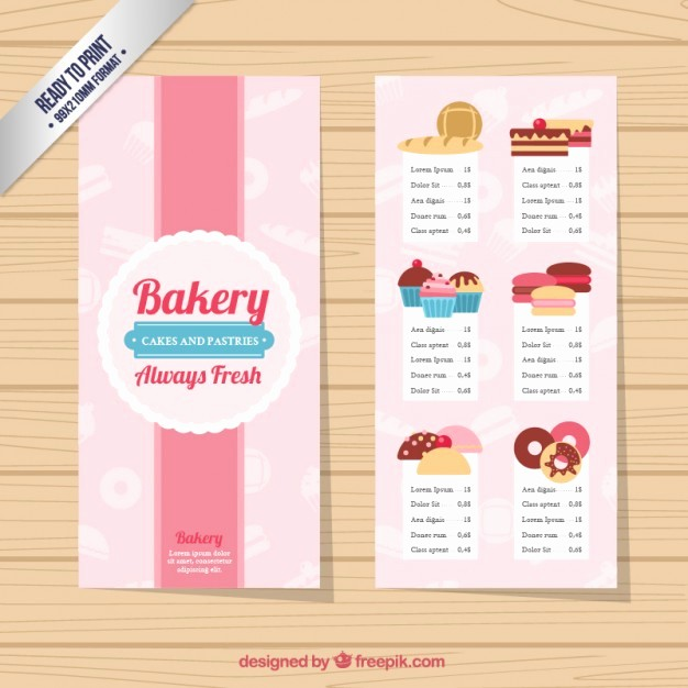 Bakery Menu Template Word Free Awesome Cute Bakery Menu Template Vector