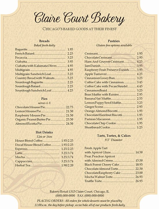 Bakery Menu Template Word Free Beautiful 30 Bakery Menu Templates Psd Pdf Eps Indesign