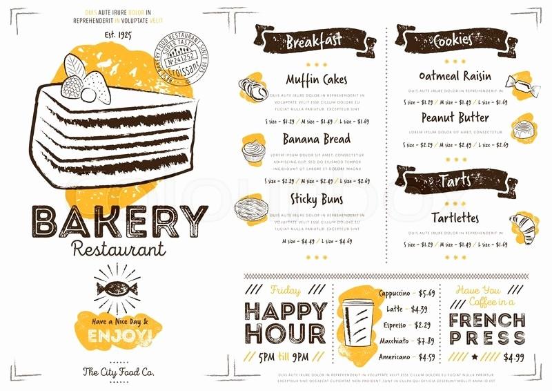 Bakery Menu Template Word Free Elegant Restaurant Bakery Cafe Menu Template Flyer Vintage Design
