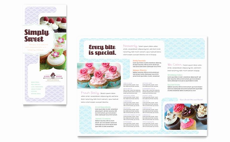 Bakery Menu Template Word Free Fresh Bakery & Cupcake Shop Tri Fold Brochure Template Word