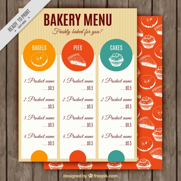 Bakery Menu Template Word Free Fresh Vintage Bakery Menu Template Vector
