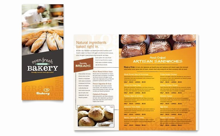 Bakery Menu Template Word Free Inspirational Artisan Bakery Take Out Brochure Template Design