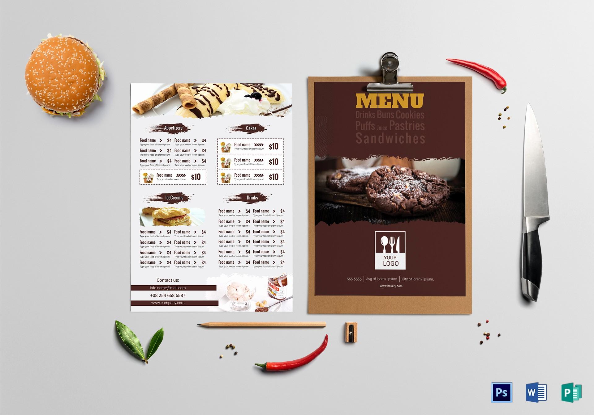 Bakery Menu Template Word Free Inspirational Tasty Bakery Menu Design Template In Psd Word Publisher