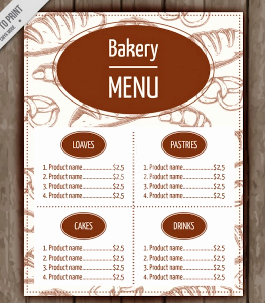 Bakery Menu Template Word Free Luxury Free Bakery Flyer Templates Yourweek 580d33eca25e