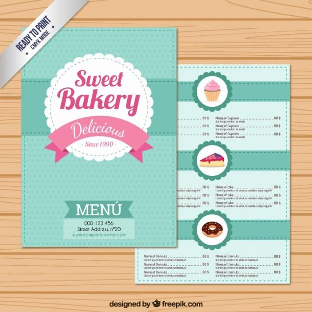 Bakery Menu Template Word Free Luxury Sweet Bakery Menu Template Vector
