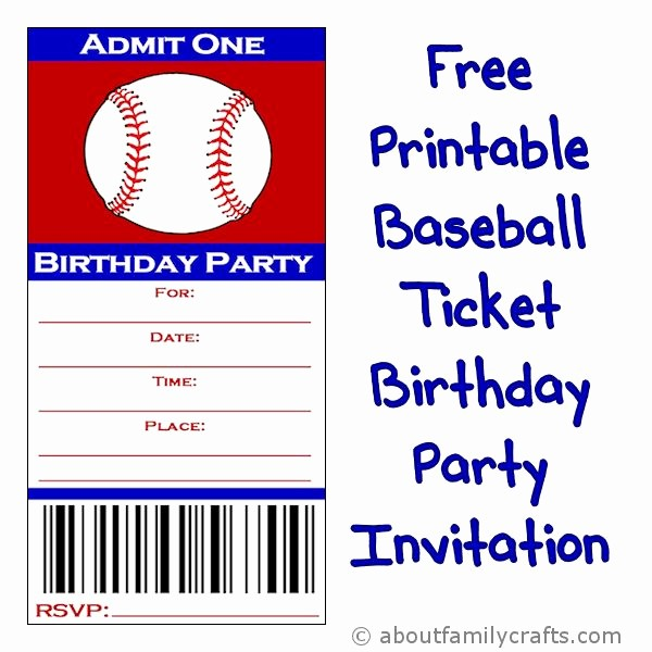 Baseball Ticket Invitation Template Free Awesome Baseball Ticket Birthday Party Invitation – About Family