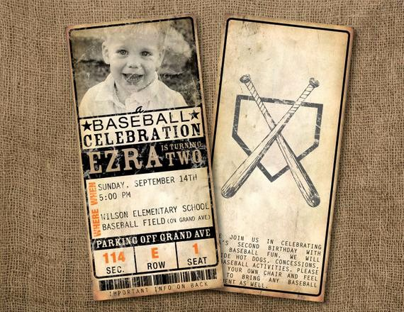 Baseball Ticket Invitation Template Free Beautiful 20 Custom Vintage Baseball Ticket Invitations by