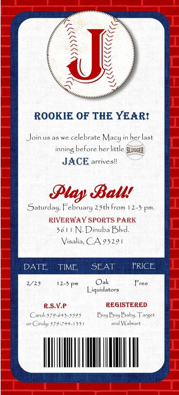 Baseball Ticket Invitation Template Free Best Of $10 00 Digital File Baseball Ticket Baby Shower Invitation