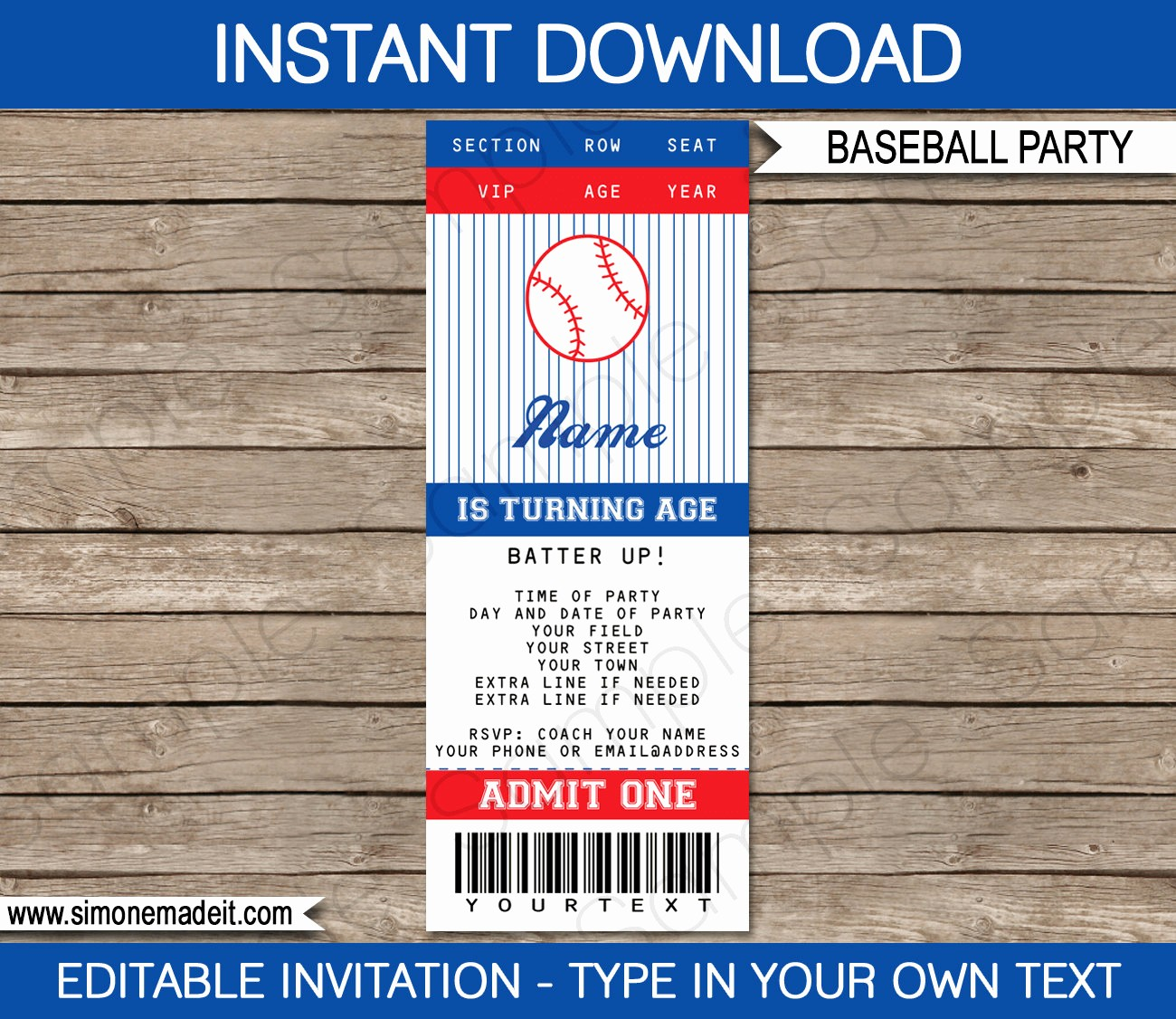 Baseball Ticket Invitation Template Free Best Of Baseball Ticket Invitation Template Birthday Party Instant