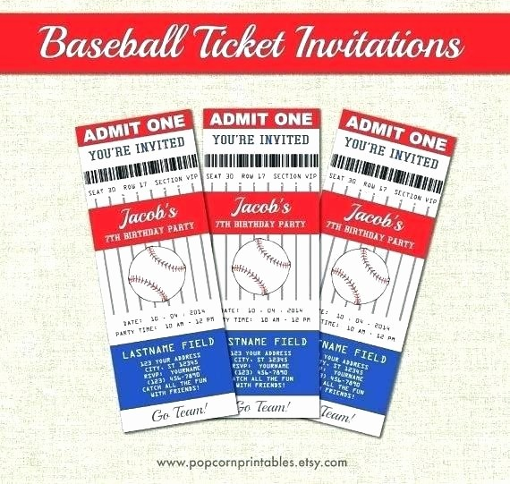 Baseball Ticket Invitation Template Free Best Of Ticket Invitation Template Free Plus Baseball Birthday