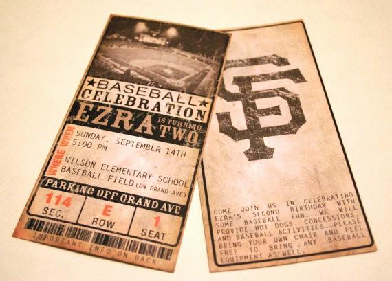 Baseball Ticket Invitation Template Free Elegant Custom Vintage Baseball Ticket Invitations Any Team Any